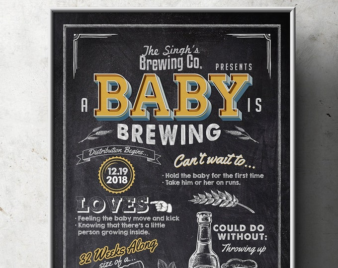Baby shower stats sign, Welcome sign, rustic, BabyQ, beer, chalkboard, couples co-ed Baby Shower BBQ, baby is brewing, (Printable File Only)