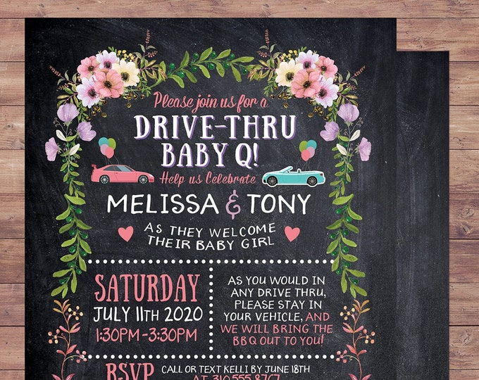 Drive-by baby shower, social distancing baby shower parade, Floral,BabyQ chalkboard couples co-ed Baby Shower BBQ invitation, babyq