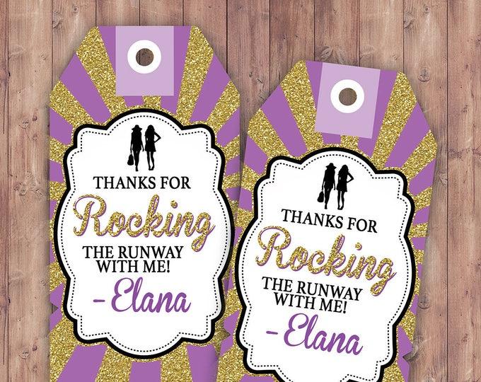 Rock the Runway favor tag, - pop-star- rockstar party, fashion birthday, high fashion, runway, tag, sticker, label, Birthday favor