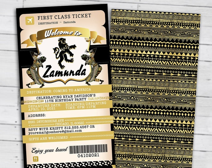 Passport and ticket birthday invitation, Coming to America Birthday invitation, Africa Passport, Zamunda, wedding, Digital files only
