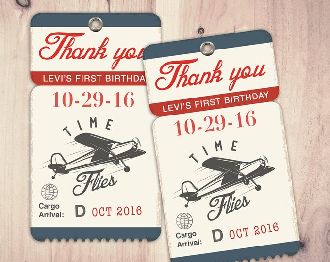 Precious Cargo favor tag,  Baby Shower, vintage airplane, time flies printable, favor tags