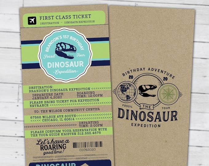 Dinosaur Dig Party Invitation, Dinosaur Birthday Invitation, Boy Birthday Party, Dino Skeleton and Bones - Archaeologist, Fossil, passport