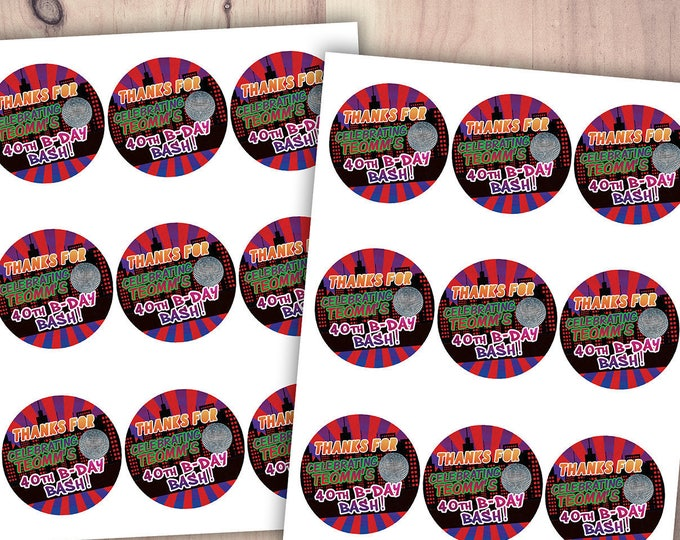 Digital file, sticker, label, Hip Hop, Fresh Prince, disco ball, birthday favor,, pop star, Graffiti, birthday, DJ, 90s party, 80s party