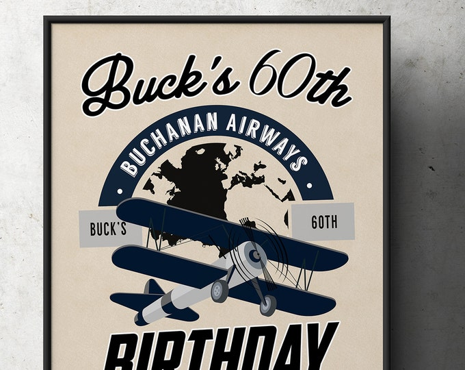 Party signs, Vintage Airplane, birthday, luggage tag- Vintage, Airplane / Birthday Party, first birthday, airplane decor
