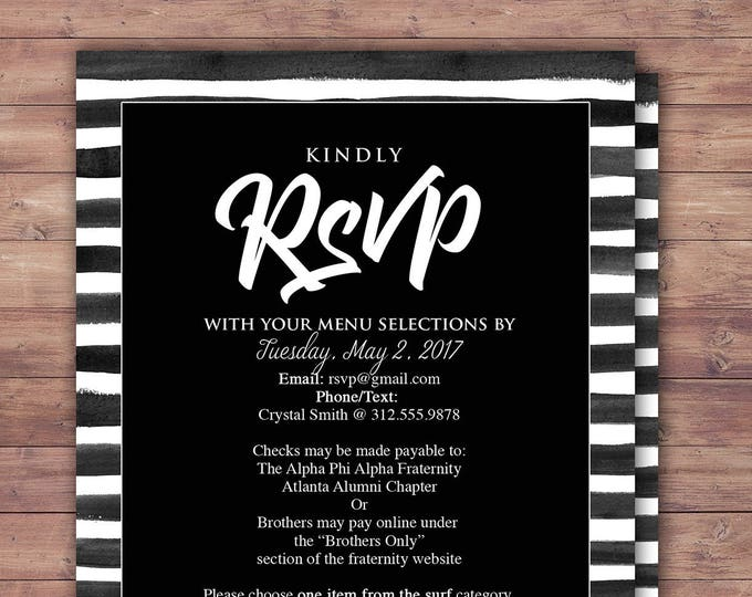 RSVP card, elegant, Black and white party, Prom, Anniversary Party Invite, save the date, wedding invitation, engagement,bridal shower