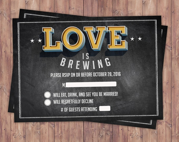 RSVP card, Coed bridal shower invitation- Beer bridal shower invitation- couples shower - bridal shower- Beer and BBQ, love is brewing