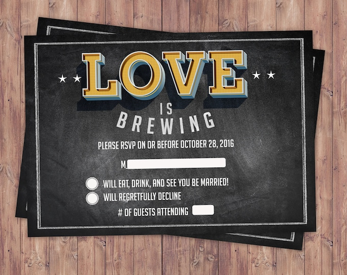 RSVP card, Coed bridal shower, Beer bridal shower, couples shower, bridal shower RSVP, Beer and BBQ, love is brewing