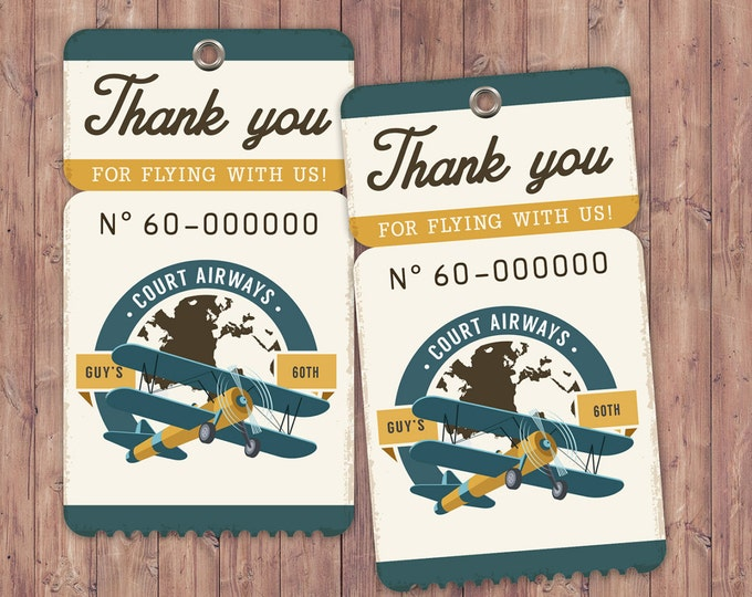 Vintage Airplane, birthday, luggage tag- Vintage / Rustic / Airplane / Birthday Party, first birthday, 1st, 60th