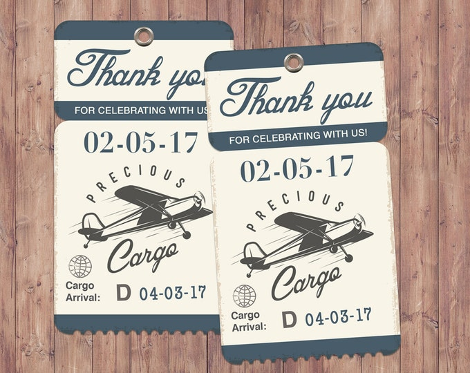 Precious Cargo favor tag, Oh The Places You Will Go Baby Shower Invitation • Dr. Seuss Baby Shower, vintage airplane invitation