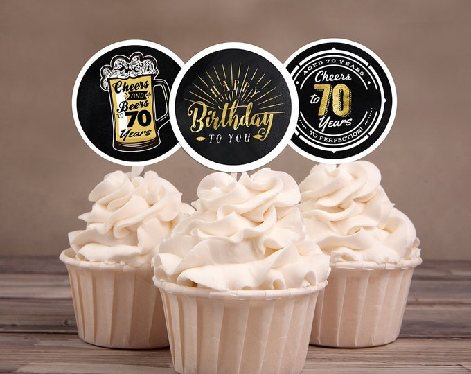 70th birthday party decorations - Cupcake toppers - Cheers to 70 years - Cheers & Beers - Instant download party decor for him or her