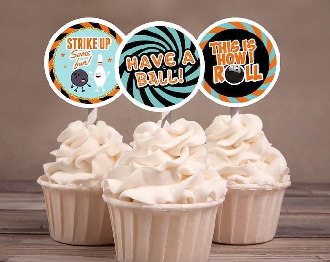 Bowling cupcake toppers, Bowling Birthday Party decor, retro bowling, bowling, Strike