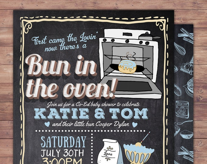 A Bun is in the Oven Invitation | Gender Reveal Invitation | BABYQ | Gender Reveal Invitation, baby shower