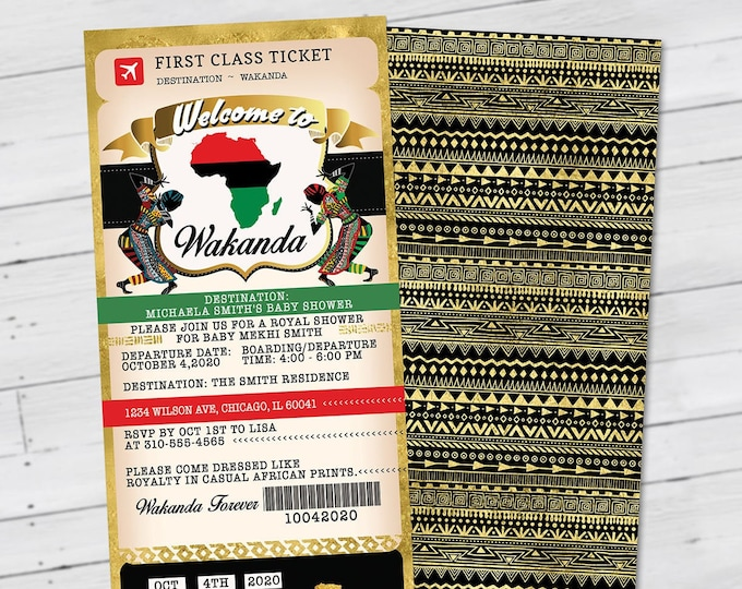 PASSPORT and TICKET baby shower invitation, Wakanda, Africa Passport, African Birthday, African Birthday, Panther, Digital files only
