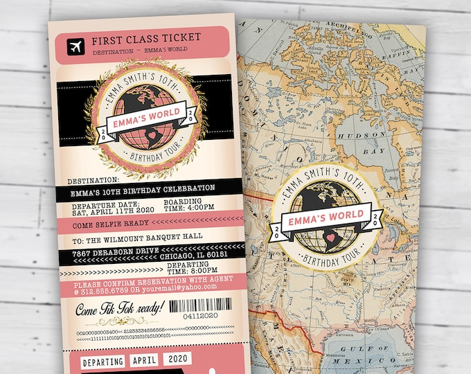 PASSPORT and TICKET birthday invitation, travel birthday party invitation, retirement party, going away party, travel, Digital files only