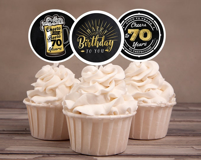 60th birthday party decorations - Cupcake toppers - Cheers to 70 years - Cheers & Beers - Instant download party decor for him or her