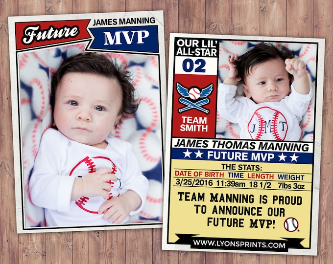 Baseball card, football, pregnancy announcement, birth announcement, baby boy, sports, baby shower, baby announcement, baby shower,