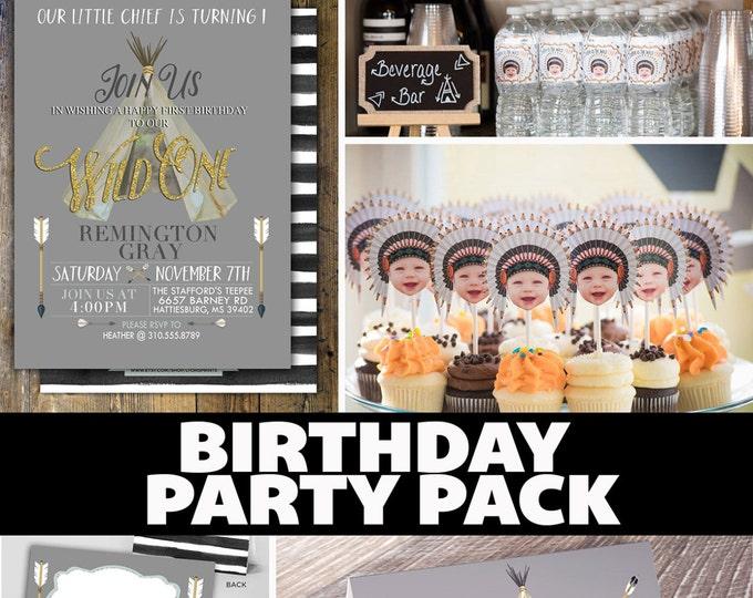 Party Pack, WILD ONE birthday Invitation, tribal birthday Invite, boho baby shower invite, invitation, arrow, pow wow, Tribal
