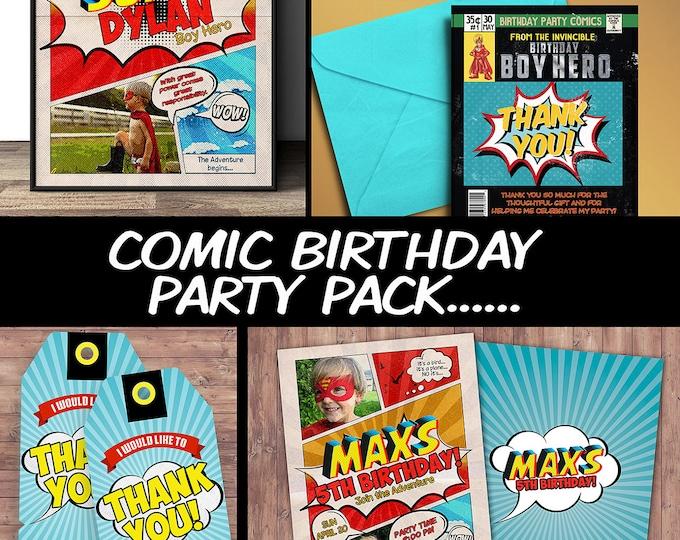 Superhero Invitation / Superhero birthday invite - DIY superhero birthday party printable, sleepover party, comic, boy birthday, hero