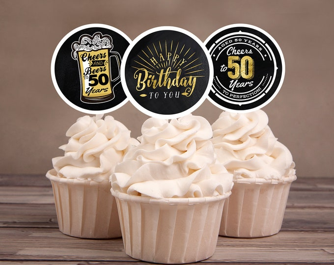 50th birthday party decorations - Cupcake toppers - Cheers to 50 years - Cheers & Beers - Instant download party decor for him or her