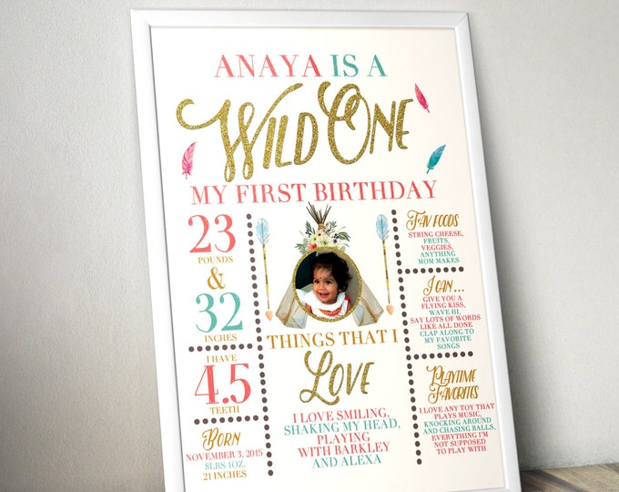Wild one, photo prop, sign, TEEPEE Brthday, Aztec, arrow, pow wow, BOHO, Tribal, first birthday, 1st birthday, Digital file only