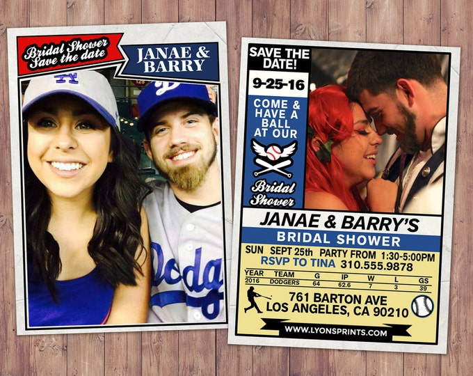 Baseball, save the date, wedding Invite/Bridal Shower INVITATION, sports, bridal shower invitation, wedding invitation, baseball card