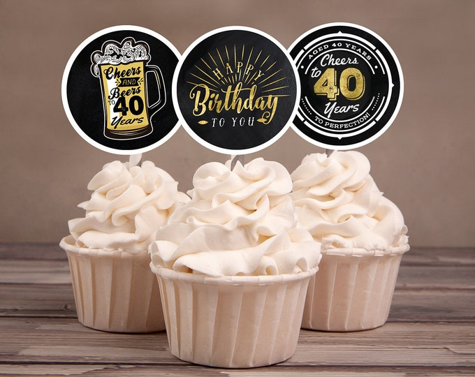 40th birthday party decorations - Cupcake toppers - Cheers to 40 years - Cheers & Beers - Instant download party decor for him or her