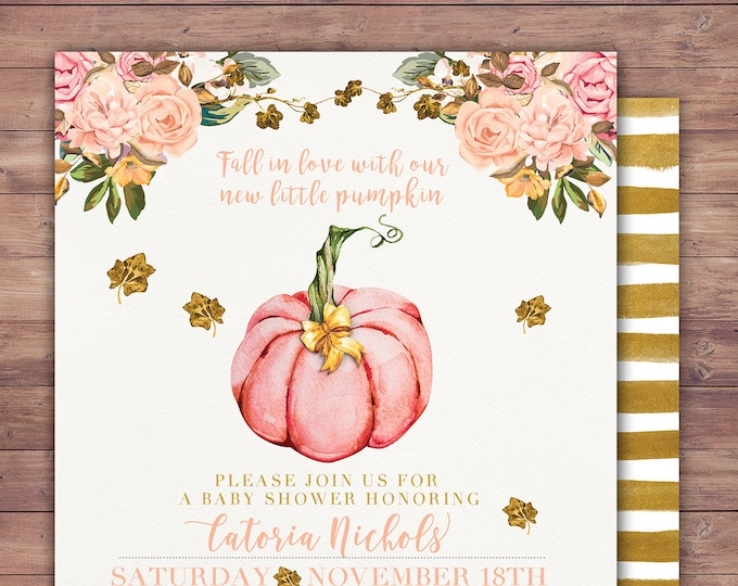 Little Pumpkin Baby Shower Invitation, baby shower invite, pumpkin baby shower invite, fall baby shower, pumpkin watercolor,