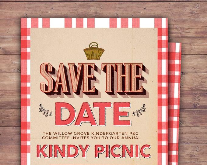 Save the date, Neighborhood Picnic Invitation, company picnic, corporate picnic, BBQ, neighborhood bbq, picnic party, potluck
