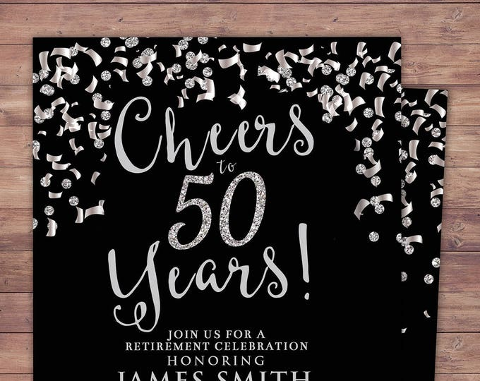 Retirement party, Cheers invitation, 21st, 30th, 40th, 50th, 60th, 70th, Surprise Birthday Party Invitation, confetti and glitter