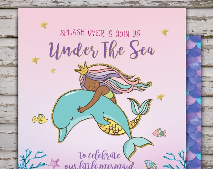 Mermaid Invitation Mermaid Baby shower Invitation, Under The Sea  Invitation, Under The Sea Party Mermaid Under The Sea Party, Coed Shower