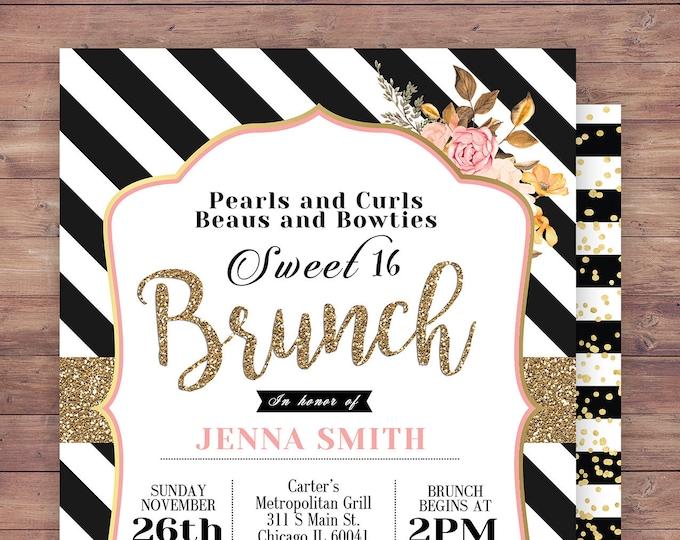 invitation invite bridal shower invitation wedding sweet 16 brunch birthday invitation baby shower couples shower Spade party