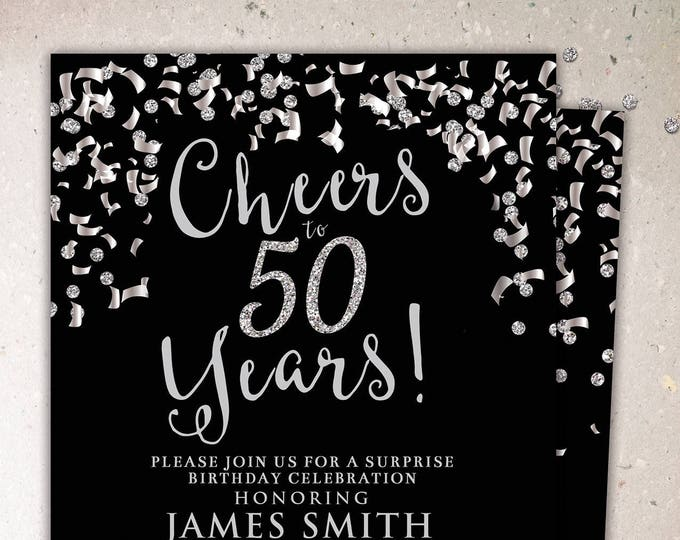 ANY AGE, Cheers invitation, 21st, 30th, 40th, 50th, 60th, 70th, Surprise Birthday Party Invitation, adult birthday, confetti and glitter