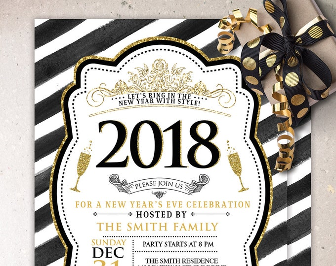 New Years Invitation - New Years Eve Invitation - New Years Party - New Years Invite - Black & Glitter Invitation - New Year's Eve Printable