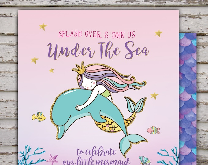 Mermaid Invitation Mermaid Baby shower Invitation, Under The Sea  Invitation, Under The Sea Party Mermaid Under The Sea Party, Coed Shower
