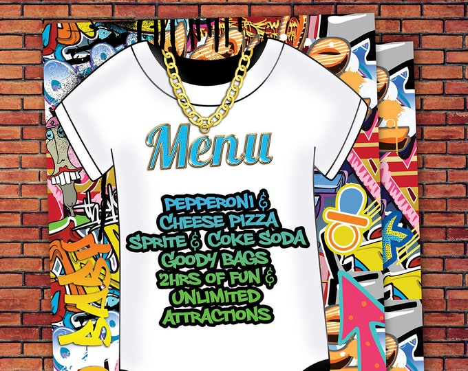 Menu, Fresh Prince, Birthday, Baby Shower, Hip Hop, Swagger, 90s, Graffiti, birthday, DJ, 90s party, HipHop birthday