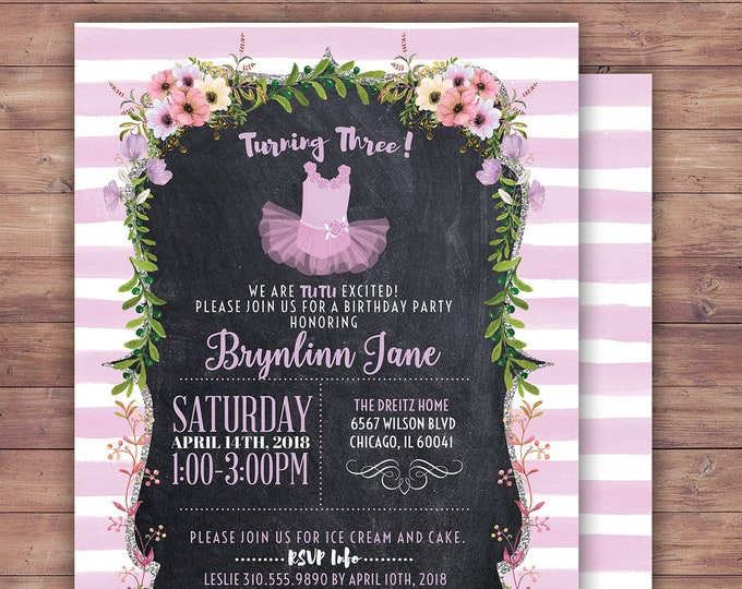 Ballerina Birthday invitation. Tutu, chalkboard, French, stripes,  purple, tutu invite,  tutu birthday, tutu baby shower