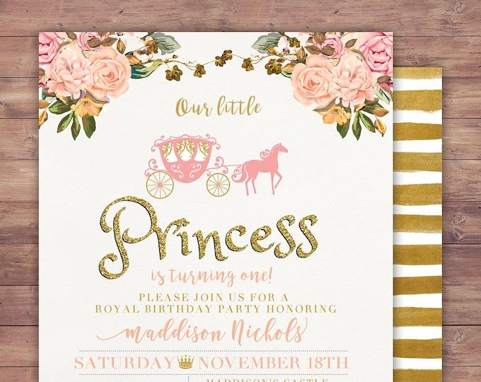 Princess Birthday Invitation Princess Carriage Birthday Invitation Pink Gold Glitter Princess Birthday Invite Carriage Invitation