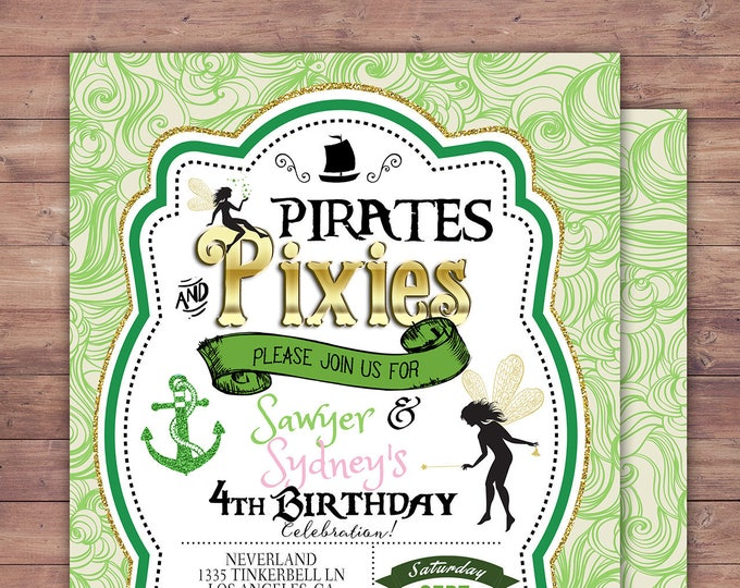Pirates and Pixie, Party Invitations, Pirate, Tinkerbell, Pixie, Invitation, Pirate and pixie invitation ,Twins, fairy, birthday, nautical