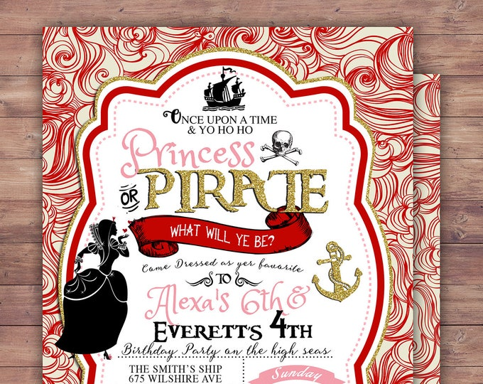 Pirate and Princess Party Invitations Personalised. Pirate and Princess Birthday Invitation, Princess and Pirate invitation , vintage, retro
