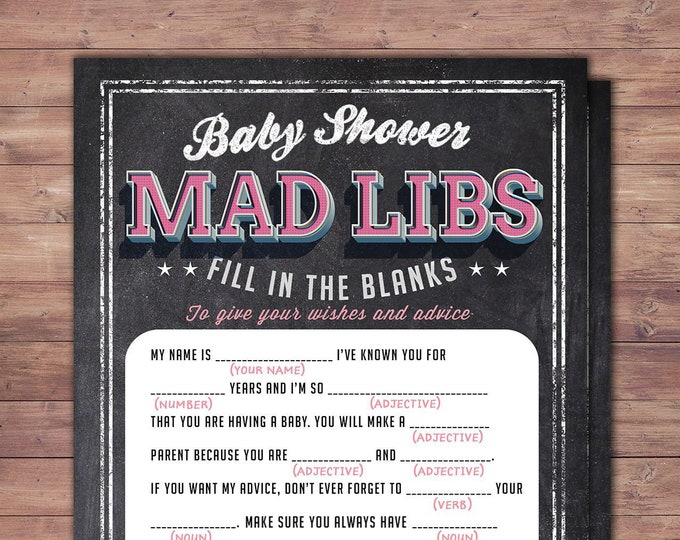 MAD LIBS baby shower game, Baby is brewing, Coed baby shower, baby wishes card- Beer baby shower,couples baby shower