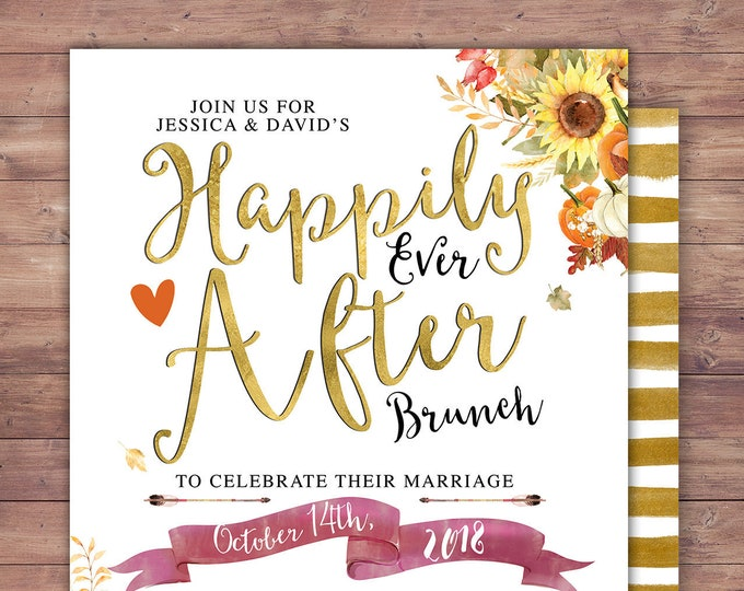 Happily ever after invitation, Autumn, Fall shower, BOHO wedding shower Invitation, couples shower, bridal shower, Halloween invitation
