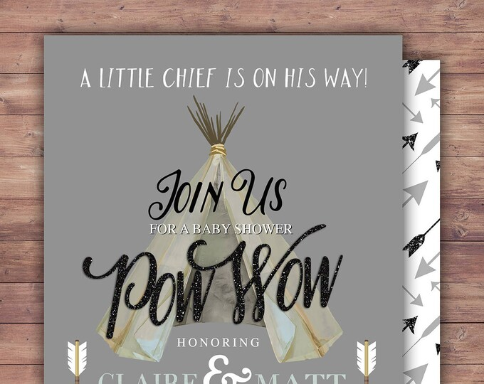TEEPEE Baby Shower Invitation, Indian Baby shower Invite, aztec baby shower invite,boy, invitation, Aztec, arrow, pow wow, BOHO, Tribal
