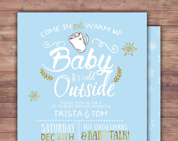 Baby it's cold outside invitation, Winter baby shower invitation. Retro chalkboard  snowflake, couple baby shower, snowflake, hot cocoa