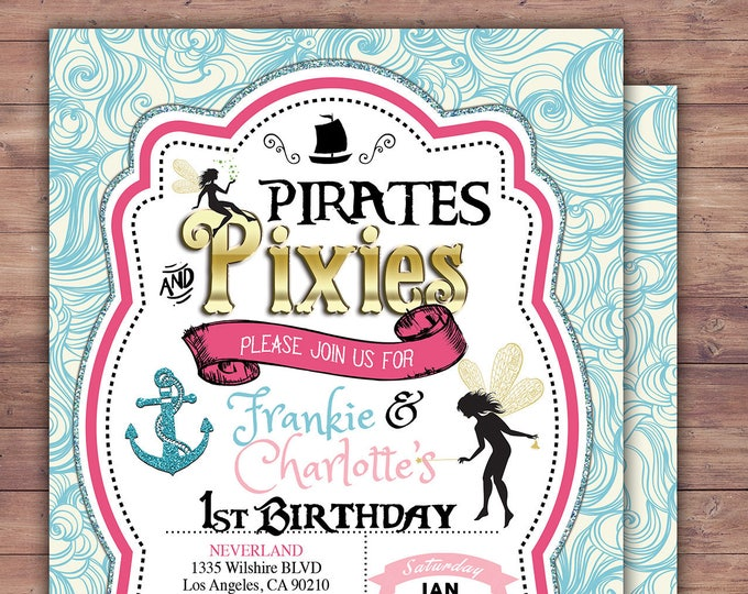 Pirates and Pixie, Party Invitations, Pirate, Princess, Pixie, Invitation, Pirate and pixie invitation ,Twins, fairy, birthday, nautical