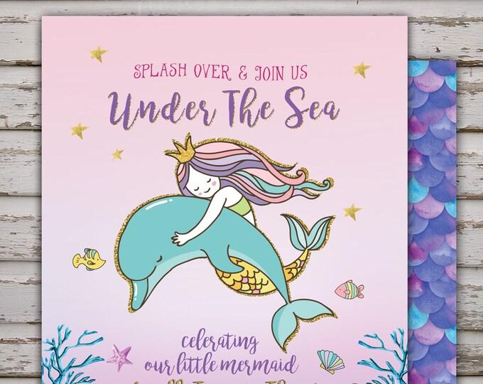 Mermaid Invitation Mermaid Birthday Invitation Under The Sea Birthday Invitation Under The Sea Party Whimsical Mermaid Under The Sea Party