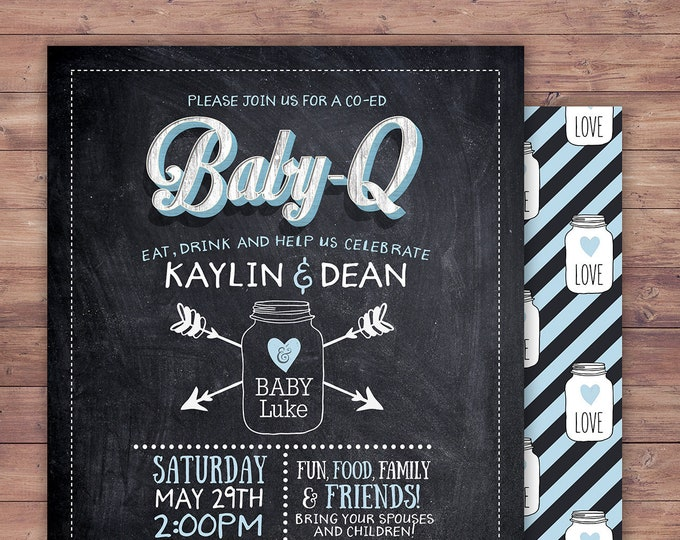 Chalkboard, rustic, BOHO, BabyQ invitation, couples, co-ed Baby Shower BBQ invitation - babyq - boy girl- baby is brewing, baby girl shower