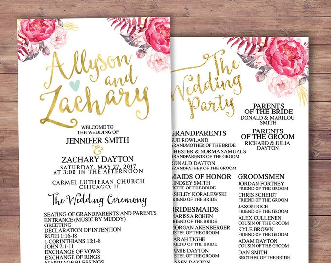 natural, boho, Printable Wedding Program, elegant wedding program, wedding ceremony, modern wedding program, order of ceremony, rustic
