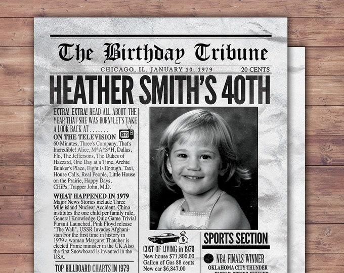 30th, 40th, 50th, 60th, 70th milestone birthday invitation, newspaper invite, milestone birthday invitation( Digital file only)
