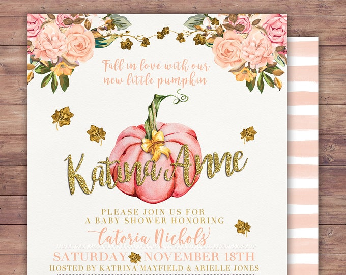 Girl Little Pumpkin Baby Shower Invitation, girl baby shower invite, pumpkin baby shower invite, fall baby shower, pumpkin watercolor,