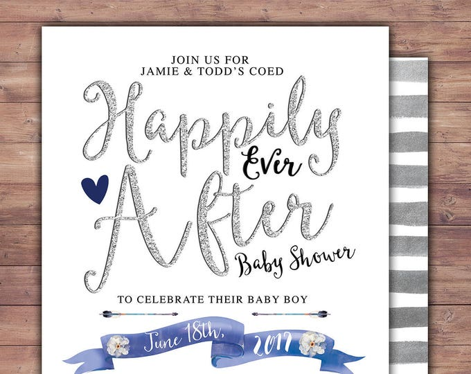 Floral, rustic, BOHO, BabyQ, couples co-ed Baby Shower BBQ invitation - babyq - boy girl,  baby girl shower, Happily Ever After